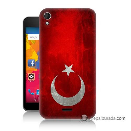 Teknomeg Casper Via V3 Kılıf Kapak Türkiye Bayrağı Baskılı Silikon