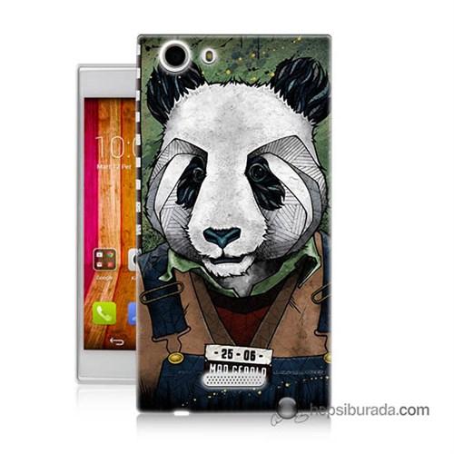 Teknomeg Casper Via V6x Kapak Kılıf İşçi Panda Baskılı Silikon