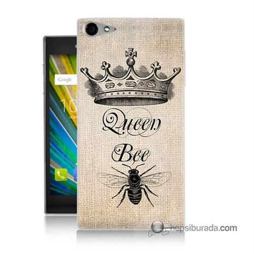Teknomeg Casper Via V9 Kılıf Kapak Queen Bee Baskılı Silikon