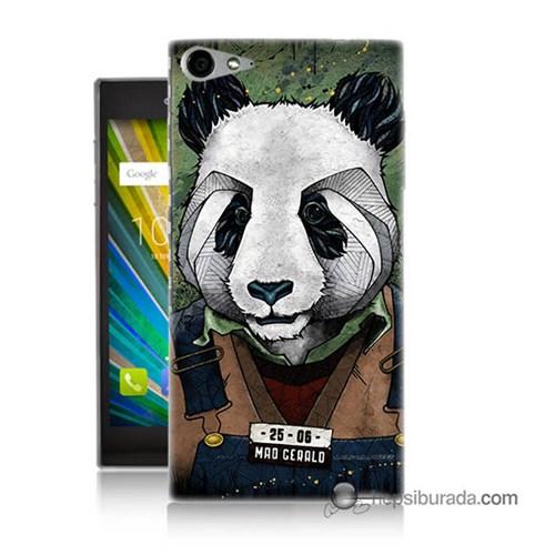 Teknomeg Casper Via V9 Kapak Kılıf İşçi Panda Baskılı Silikon