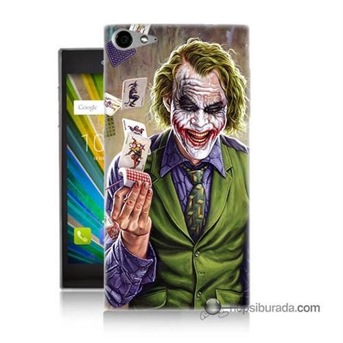 Teknomeg Casper Via V9 Kılıf Kapak Kartlı Joker Baskılı Silikon