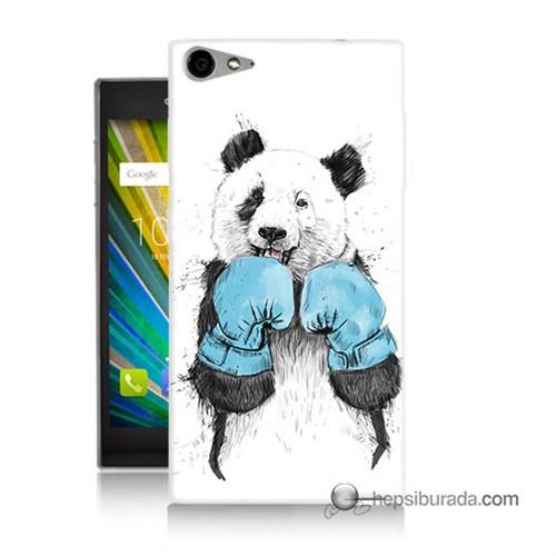 Teknomeg Casper Via V9 Kılıf Kapak Boksör Panda Baskılı Silikon