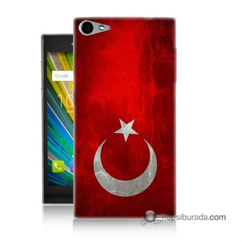 Teknomeg Casper Via V9 Kılıf Kapak Türkiye Bayrağı Baskılı Silikon