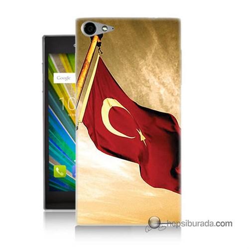 Teknomeg Casper Via V9 Kılıf Kapak Türk Bayrağı Baskılı Silikon