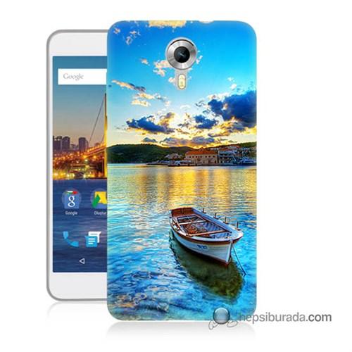 Teknomeg General Mobile 4G Android One Kılıf Kapak Gün Batımında Deniz Baskılı Silikon