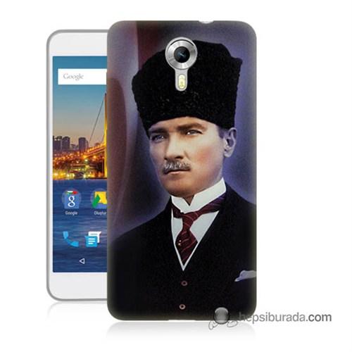 Teknomeg General Mobile 4G Android One Kılıf Kapak Mustafa Kemal Atatürk Baskılı Silikon