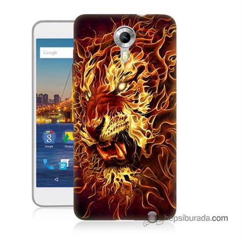 Teknomeg General Mobile 4G Android One Kılıf Kapak Ateşli Aslan Baskılı Silikon