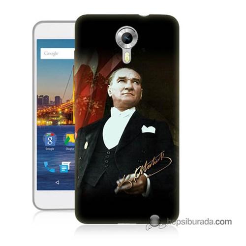 Teknomeg General Mobile 4G Android One Kapak Kılıf M.K.Atatürk Baskılı Silikon