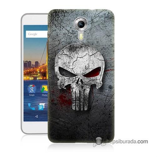 Teknomeg General Mobile 4G Android One Kılıf Kapak Punnisher Kurukafa Baskılı Silikon