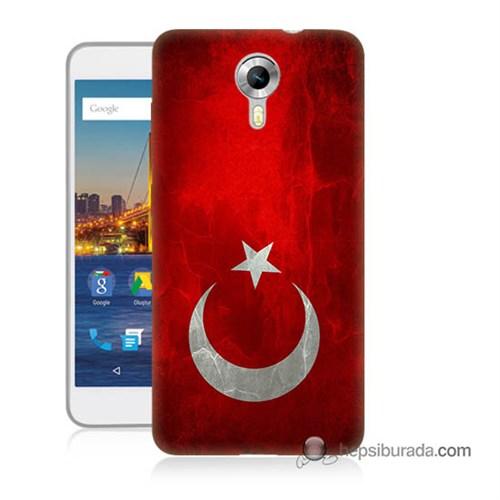 Teknomeg General Mobile 4G Android One Kılıf Kapak Türkiye Bayrağı Baskılı Silikon
