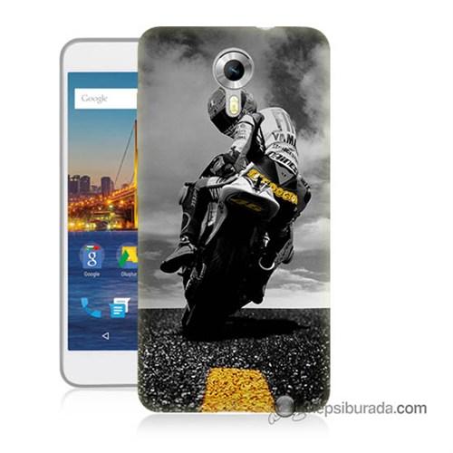 Teknomeg General Mobile 4G Android One Kapak Kılıf Motorsiklet Baskılı Silikon