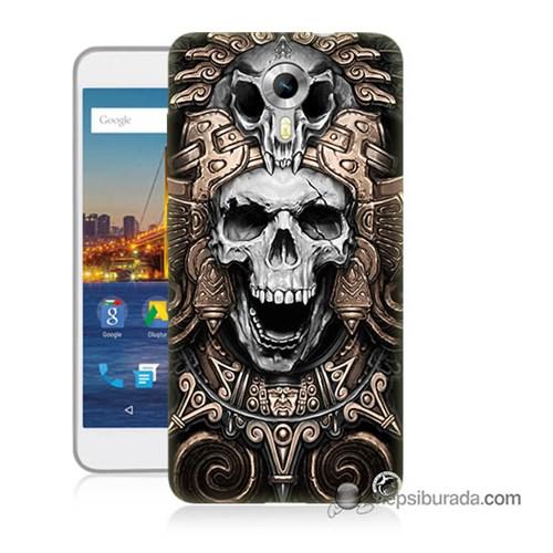 Teknomeg General Mobile 4G Android One Kılıf Kapak Kafatası Krallığı Baskılı Silikon