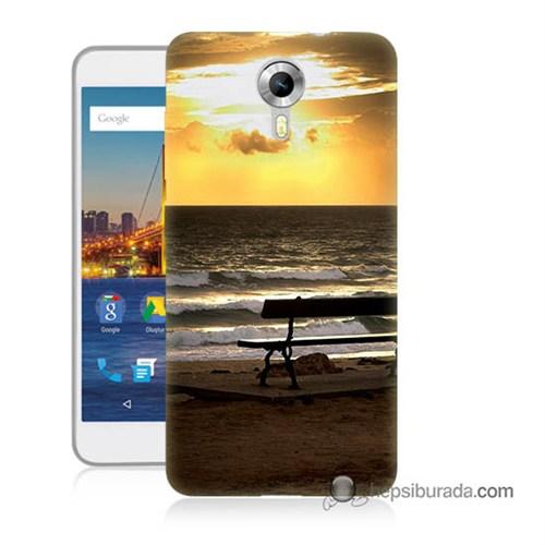 Teknomeg General Mobile 4G Android One Kılıf Kapak Gün Batımı Baskılı Silikon