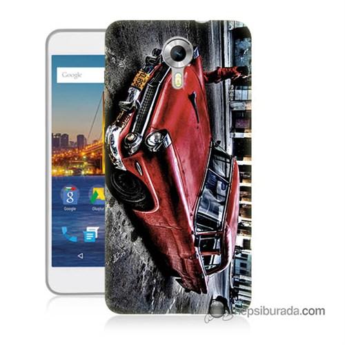 Teknomeg General Mobile 4G Android One Kılıf Kapak Klasik Araba Baskılı Silikon
