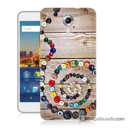Teknomeg General Mobile 4G Android One Kapak Kılıf Düğmeler Baskılı Silikon