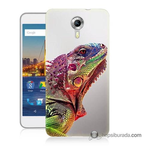 Teknomeg General Mobile 4G Android One Kapak Kılıf İguana Baskılı Silikon