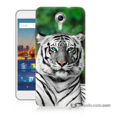 Teknomeg General Mobile 4G Android One Kılıf Kapak Beyaz Kaplan Baskılı Silikon
