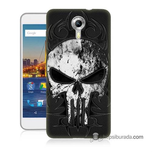 Teknomeg General Mobile 4G Android One Kapak Kılıf Punnisher Kurukafa Baskılı Silikon