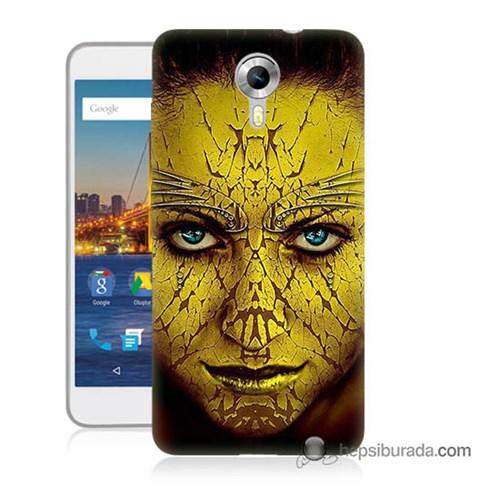 Teknomeg General Mobile 4G Android One Kapak Kılıf Sarı Kız Baskılı Silikon