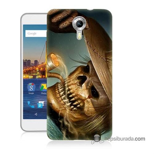 Teknomeg General Mobile 4G Android One Kapak Kılıf Pipolu Kurukafa Baskılı Silikon