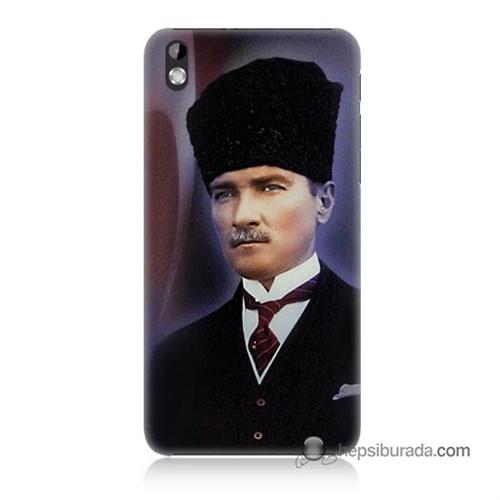 Teknomeg Htc Desire 816 Kılıf Kapak Mustafa Kemal Atatürk Baskılı Silikon