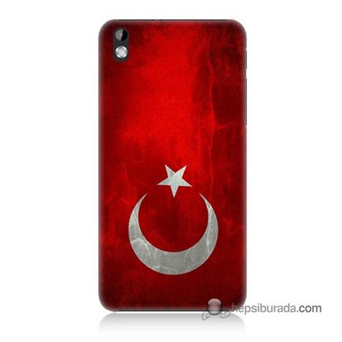 Teknomeg Htc Desire 816 Kılıf Kapak Türkiye Bayrağı Baskılı Silikon