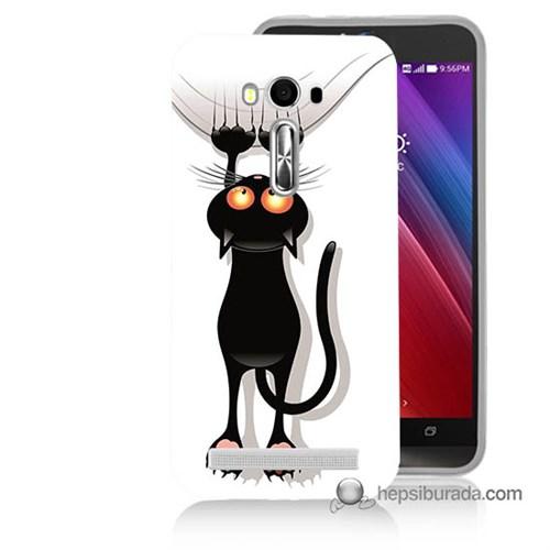 Teknomeg Asus Zenfone Laser 5.5 Kılıf Kapak Kara Kedi Baskılı Silikon