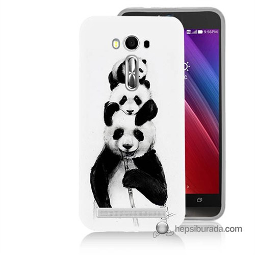 Teknomeg Asus Zenfone Laser 5.5 Kapak Kılıf Panda Ailesi Baskılı Silikon