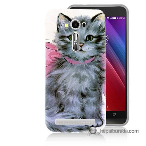 Teknomeg Asus Zenfone Laser 5.5 Kılıf Kapak Papyonlu Kedi Baskılı Silikon