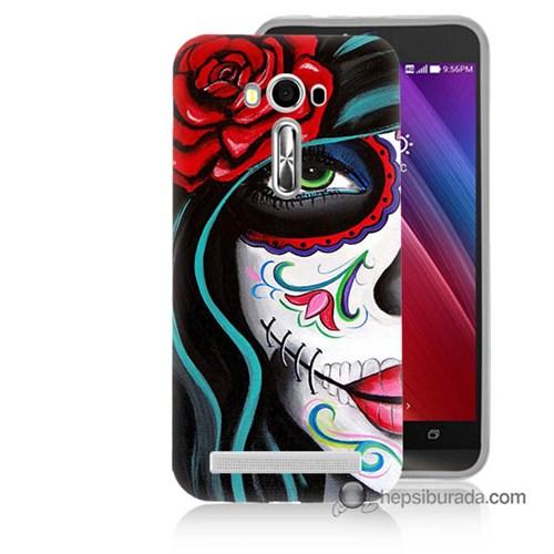 Teknomeg Asus Zenfone Laser 5.0 Kılıf Kapak Çiçekli Kız Baskılı Silikon