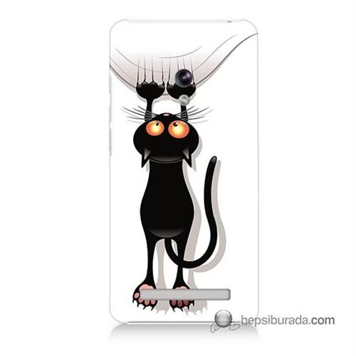 Teknomeg Asus Zenfone 5 Kılıf Kapak Kara Kedi Baskılı Silikon