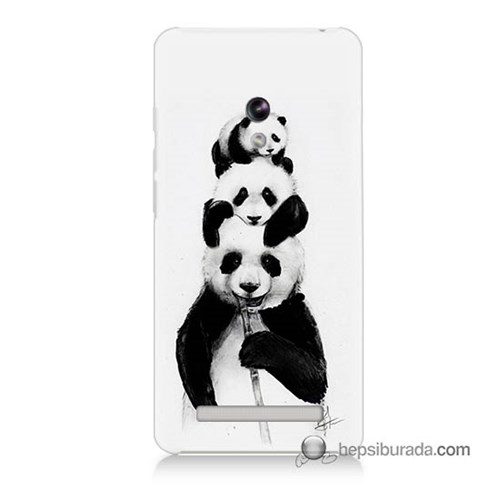 Teknomeg Asus Zenfone 6 Kapak Kılıf Panda Ailesi Baskılı Silikon