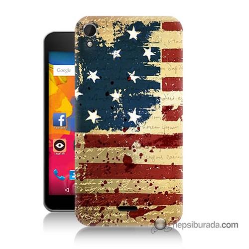 Teknomeg Casper Via V3 Kılıf Kapak Amerika Bayrağı Baskılı Silikon