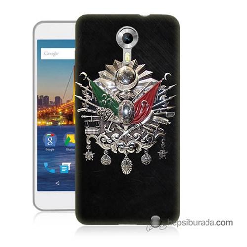 Teknomeg General Mobile 4G Android One Kapak Kılıf Osmanlı Baskılı Silikon