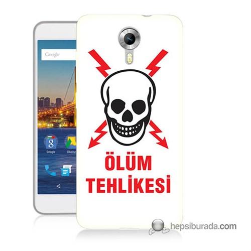 Teknomeg General Mobile 4G Android One Kapak Kılıf Ölüm Tehlikesi Baskılı Silikon