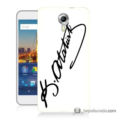 Teknomeg General Mobile 4G Android One Kılıf Kapak Atatürk İmza Baskılı Silikon