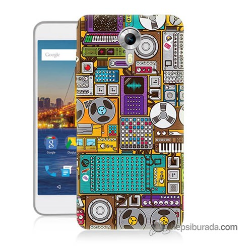 Teknomeg General Mobile 4G Android One Kılıf Kapak Teknoloji Baskılı Silikon