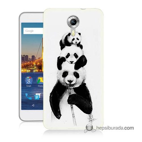 Teknomeg General Mobile 4G Android One Kapak Kılıf Panda Ailesi Baskılı Silikon