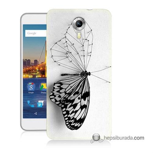 Teknomeg General Mobile 4G Android One Kapak Kılıf Kanatsız Kelebek Baskılı Silikon