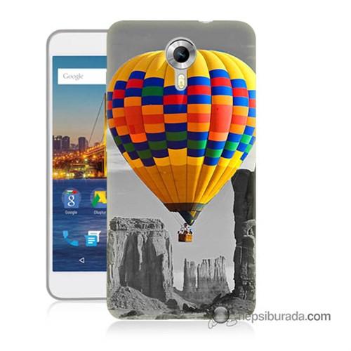 Teknomeg General Mobile 4G Android One Kılıf Kapak Renkli Uçan Balon Baskılı Silikon