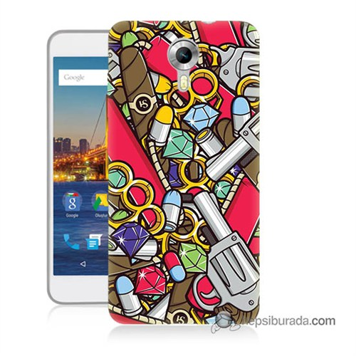 Teknomeg General Mobile 4G Android One Kılıf Kapak Cephane Baskılı Silikon