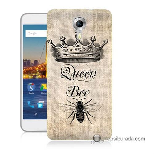 Teknomeg General Mobile 4G Android One Kılıf Kapak Queen Bee Baskılı Silikon