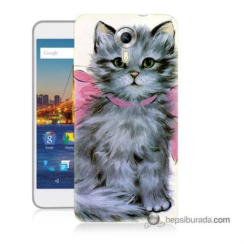 Teknomeg General Mobile 4G Android One Kılıf Kapak Papyonlu Kedi Baskılı Silikon