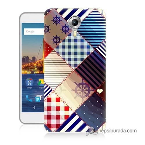 Teknomeg General Mobile 4G Android One Kapak Kılıf Patchwork Baskılı Silikon