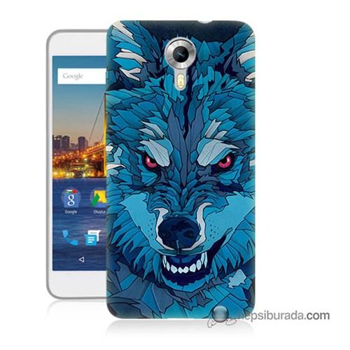 Teknomeg General Mobile 4G Android One Kılıf Kapak Mavi Kurt Baskılı Silikon