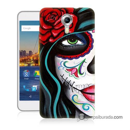 Teknomeg General Mobile 4G Android One Kılıf Kapak Çiçekli Kız Baskılı Silikon