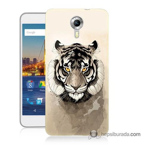 Teknomeg General Mobile 4G Android One Kapak Kılıf Beyaz Aslan Baskılı Silikon