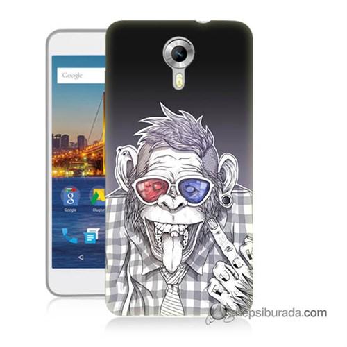 Teknomeg General Mobile 4G Android One Kapak Kılıf Maymun Baskılı Silikon