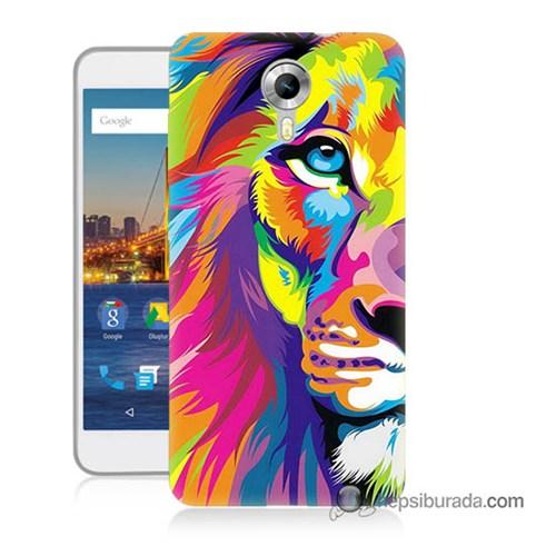 Teknomeg General Mobile 4G Android One Kılıf Kapak Renkli Aslan Baskılı Silikon