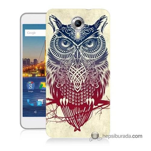 Teknomeg General Mobile 4G Android One Kılıf Kapak Mistik Baykuş Baskılı Silikon